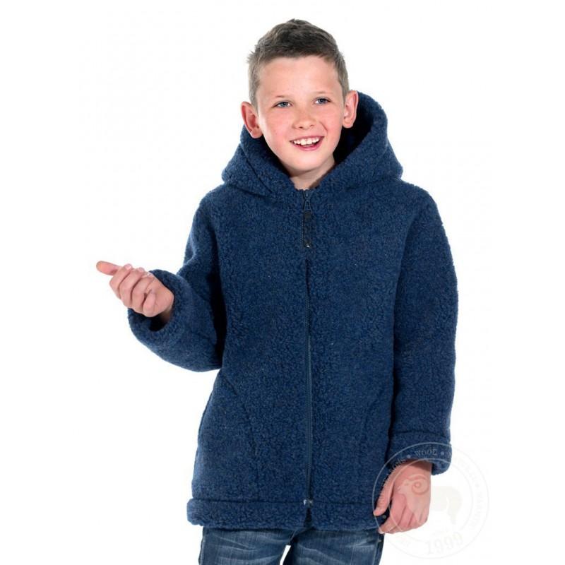 Dětská zimní bunda z ovčí vlny 116-122 tmavě modrá www.vyrobkyzovcivlny.cz