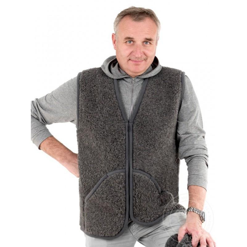 Pánská vesta z ovčí vlny Carpathian 5XL tmavě šedá www.vyrobkyzovcivlny.cz