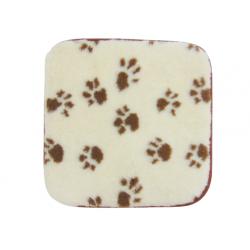 Podložka pro psy a kočky z ovčí vlny 45x45cm bílá/tlapky www.vyrobkyzovcivlny.cz