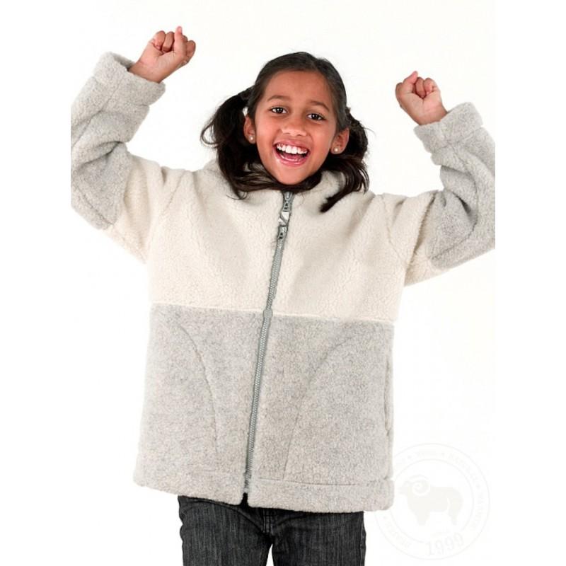 Dětská zimní bunda z ovčí vlny s kapucí velikost 140, 146 šedobílá      www.vyrobkyzovcivlny.cz