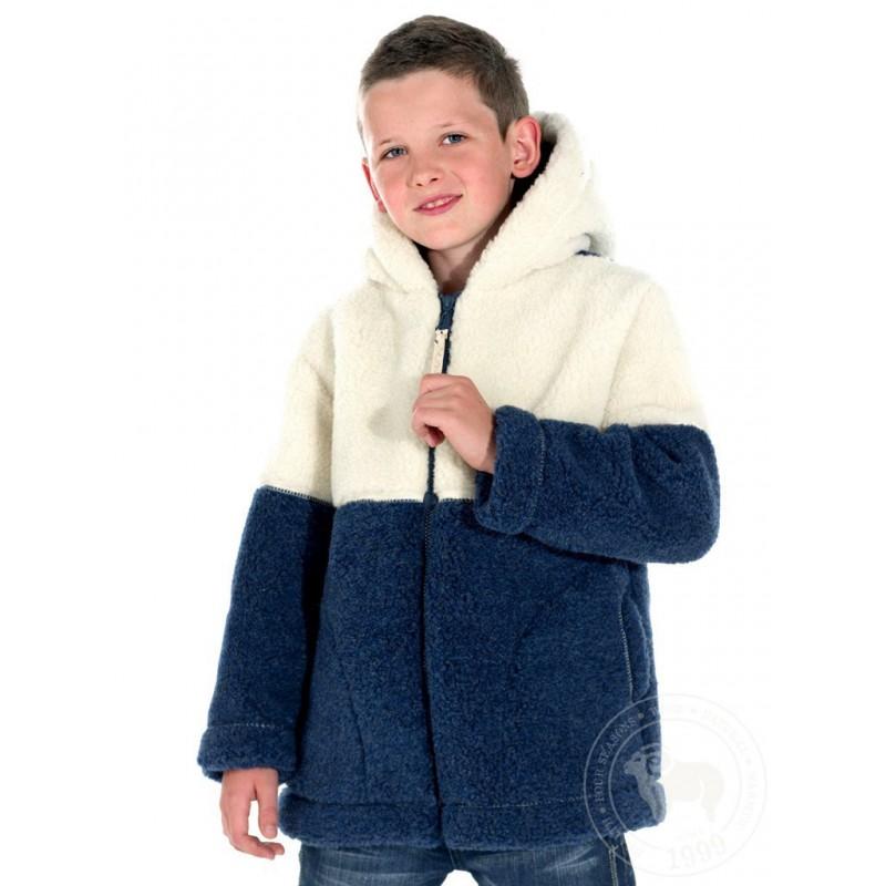 Dětská zimní bunda z ovčí vlny velikost 116-122 modro/bílá www.vyrobkyzovcivlny.cz