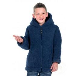 Dětská bunda z ovčí vlny s kapucí  velikost 152 tmavě modrá www.vyrobkyzovcivlny.cz