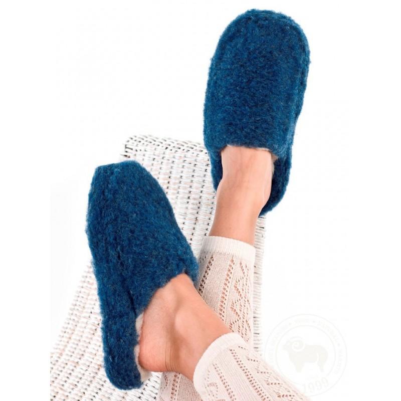 Pantofle z ovčí vlny 36-46 tmavě modré www.vyrobkyzovcivlny.cz