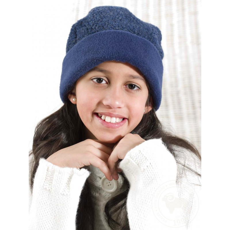 Dětská čepice z ovčí vlny 50-54 tmavě modrá švestková 50-54