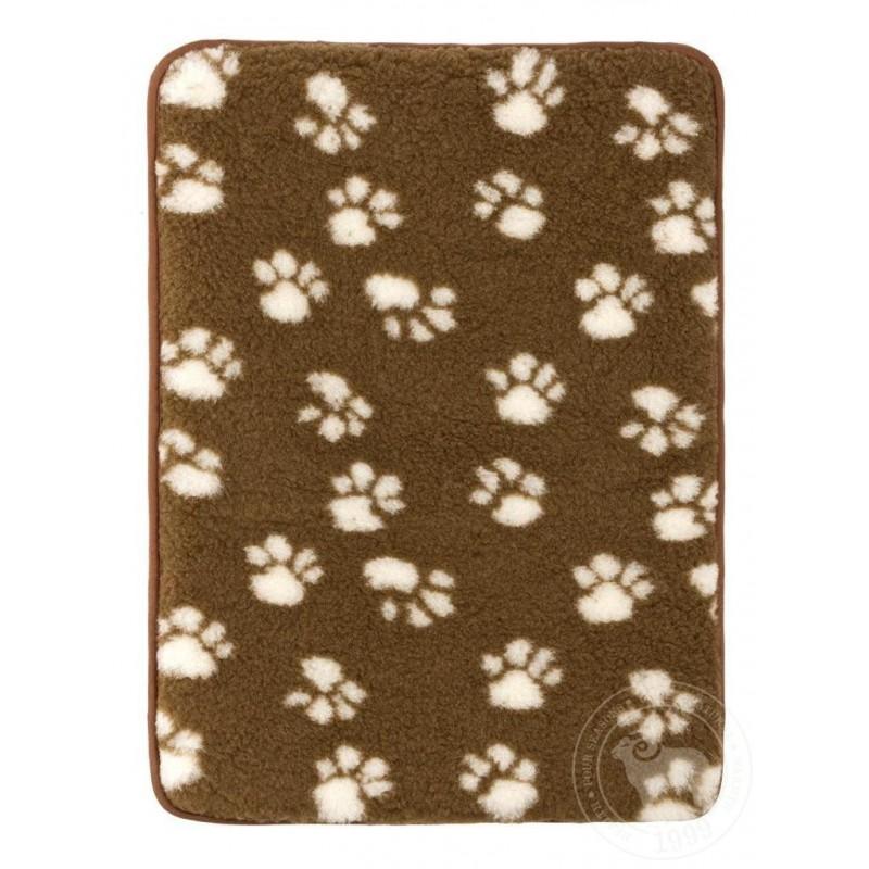 Podložka pro psy a kočky z ovčí vlny 50x70 cm  hnědá/tlapky www.vyrobkyzovcivlny.cz