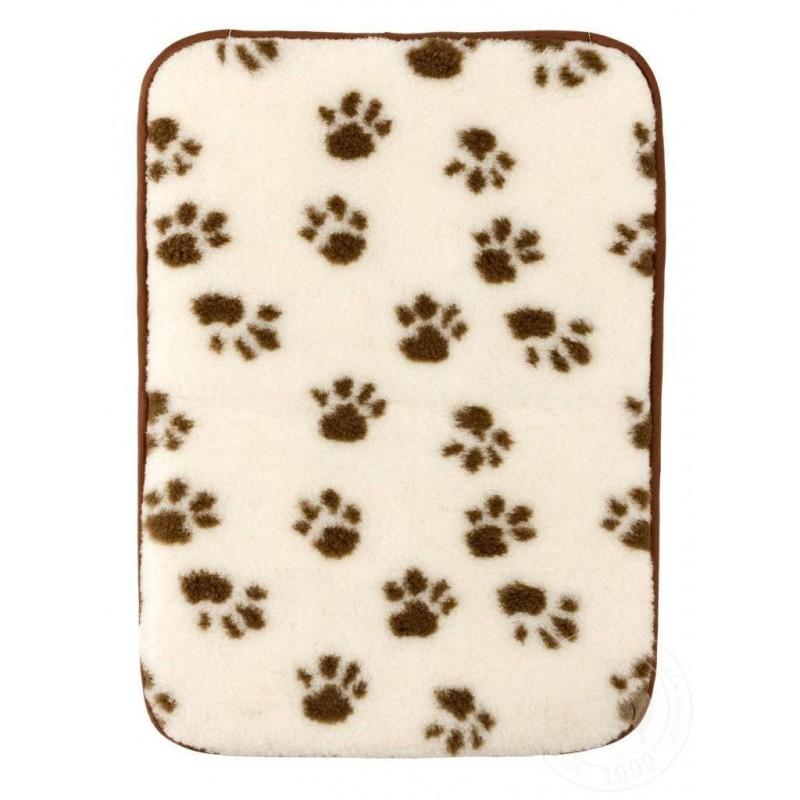 Podložka pro psy a kočky z ovčí vlny 50x70 cm  bílá/tlapky www.vyrobkyzovcivlny.cz