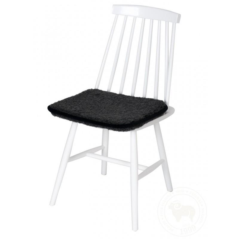 Podsedák na židli z ovčí vlny 40x40cm černý www.vyrobkyzovcivlny.cz