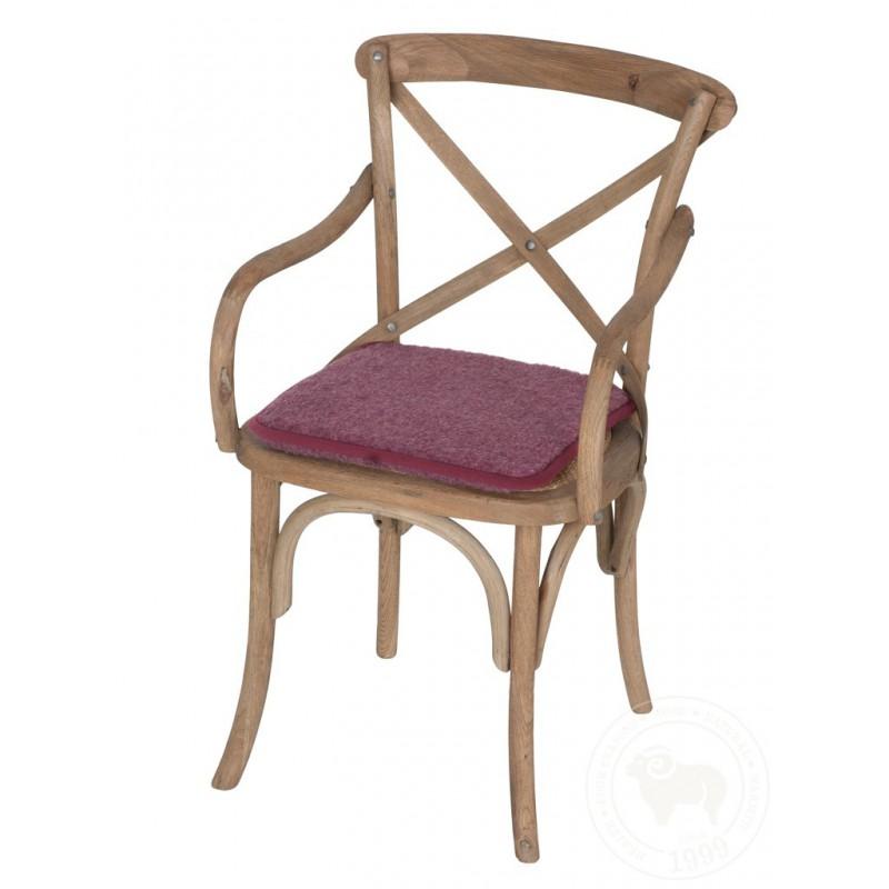 Podsedák na židli z ovčí vlny 40x40cm vínové barvy