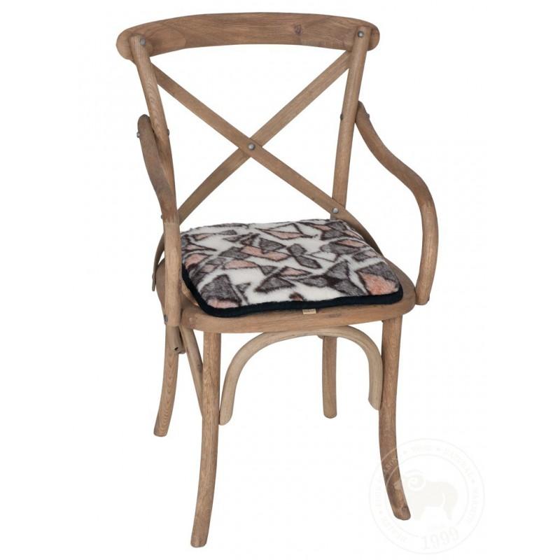 Podsedák na židli z ovčí vlny 40x40cm se vzorem www.vyrobkyzovcivlny.cz