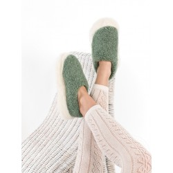 Bačkory z ovčí vlny zelené