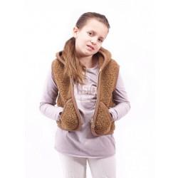 Dětská vesta z ovčí vlny Carpathian vel S hnědá (bez kapuce)