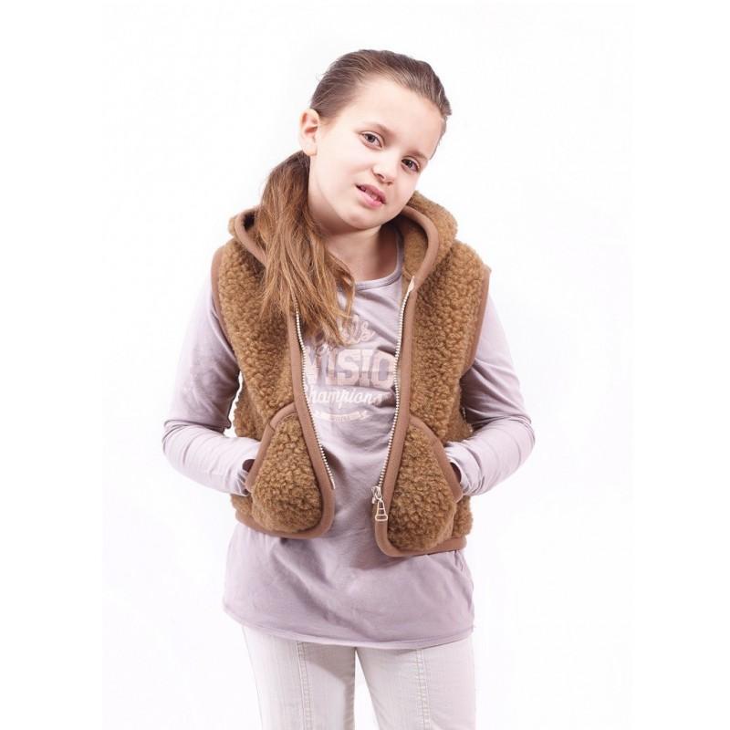 Dětská vesta z ovčí vlny Carpathian vel XL hnědá (bez kapuce)
