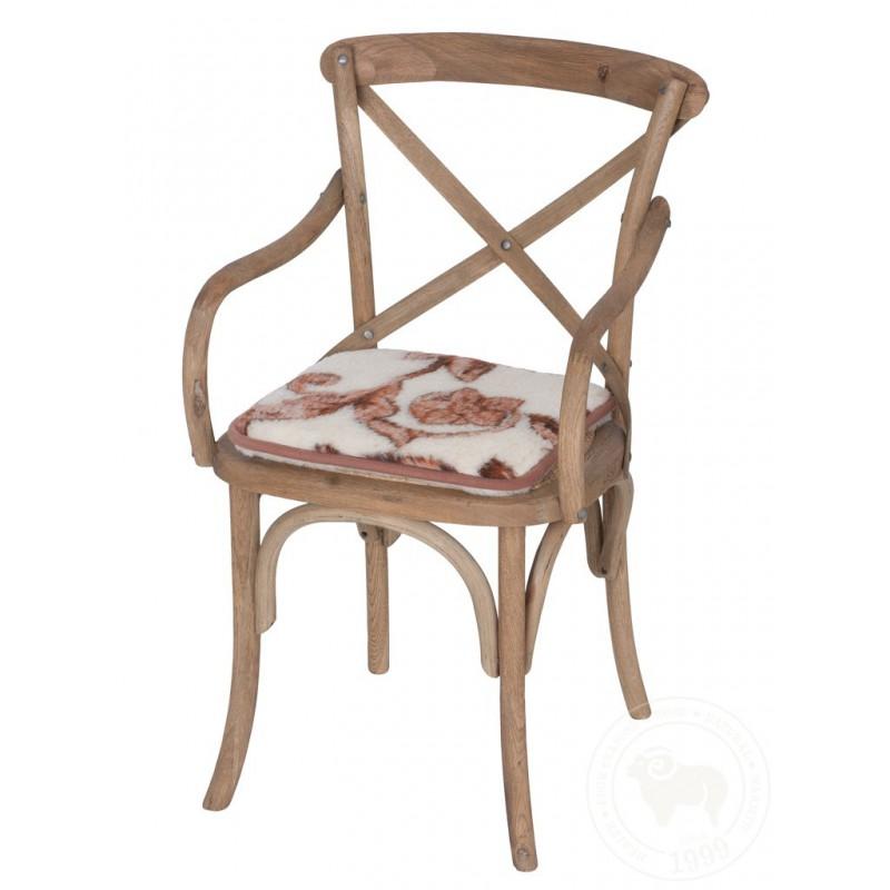 Podsedák na židli z ovčí vlny 40x40cm s květinou www.vyrobkyzovcivlny.cz
